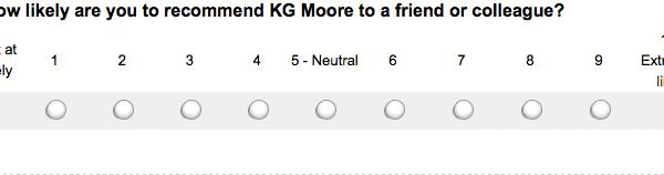 A screenshot of a customer survey