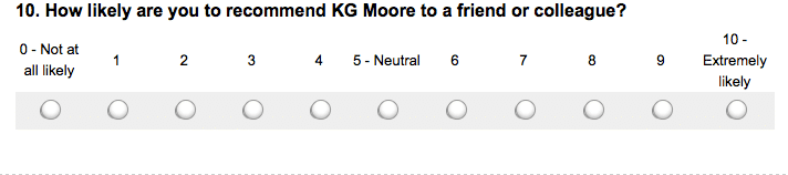 A screenshot of a customer survey