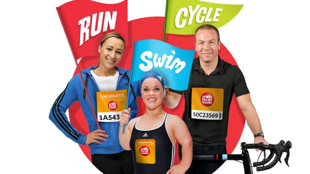 A picture of three people representing Sport Relief