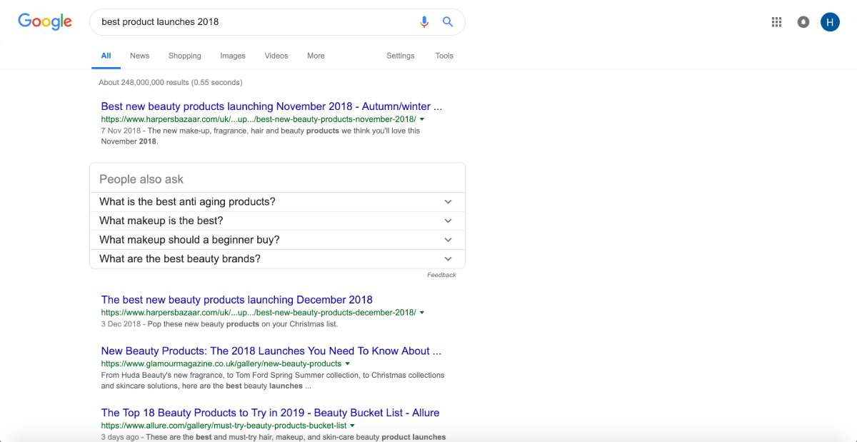 Search Engine Results Page results for top product launches 2018