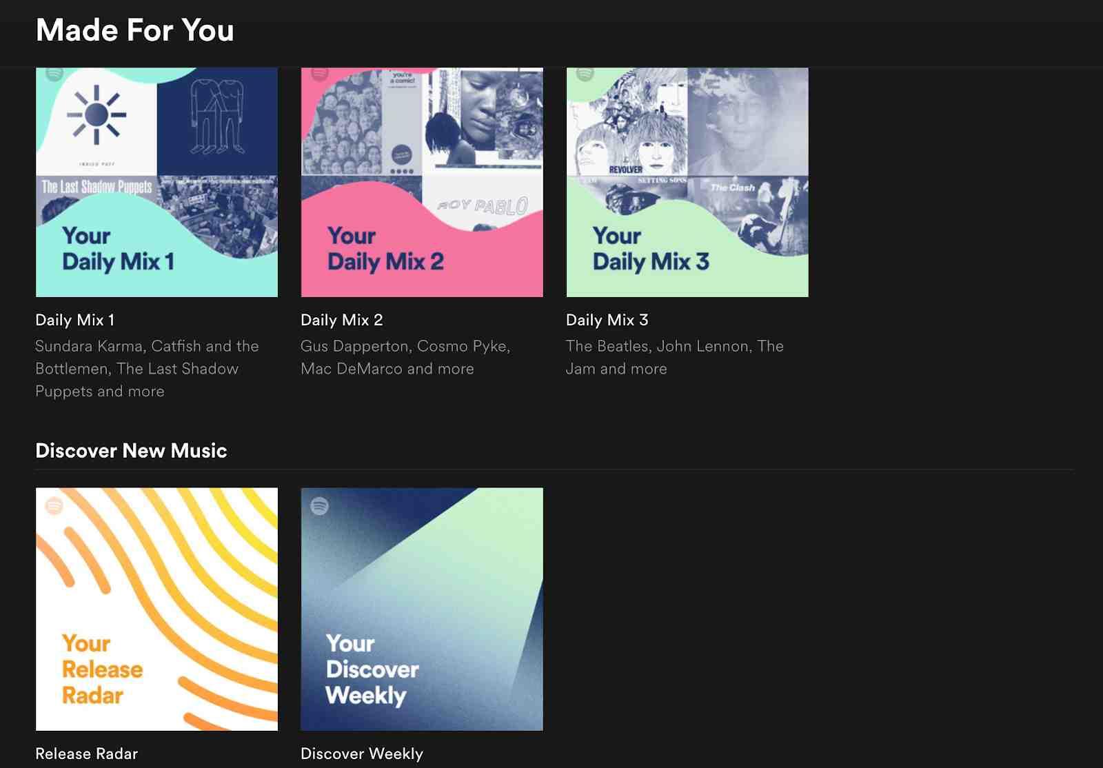 Spotify Daily Mixes on Desktop