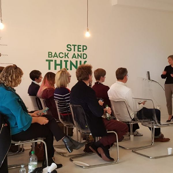 People listening to Kim Moore at the Colchester Marketing Meetup