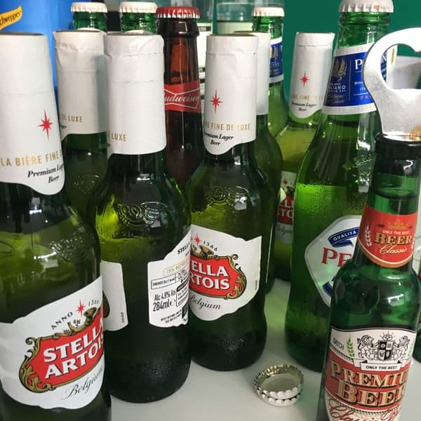 A selection of beers on a desk at the Colchester Marketing MeetUp